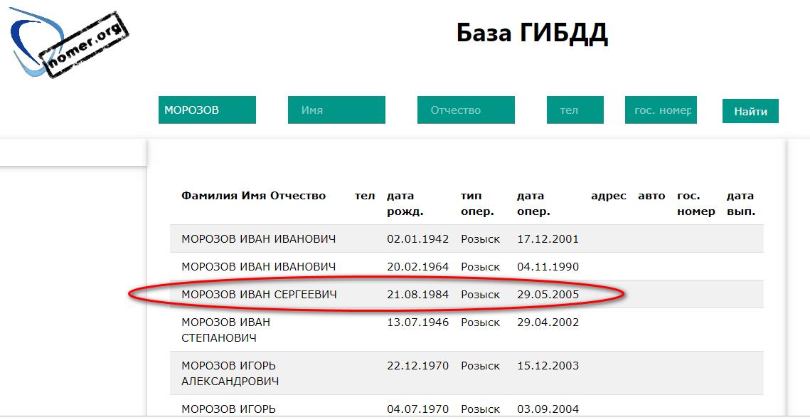 Морозов ИС в розыске с 2005г